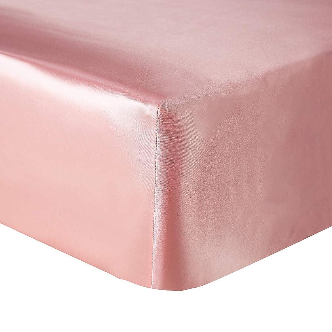 好意追放する容疑者JK Home シンプル 寝具 ボックスシーツ マチ部分約30cm ベッドカバー ベッドシーツ マットレスシーツ レーヨン ピンク ダブル(M)