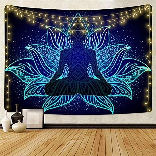 3d Printing Chakra Tapestry Indian Buddha Mandala Wall Tapestries Hippie Sitting Buddha Tapestry For Bedroom Aesthetic Decorations Living Room Dorm(With Lights For Room Decor)…