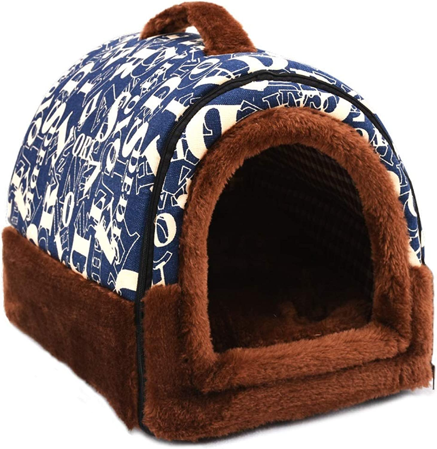 Kennel, 2 In 1 Four Seasons Winter Warm Small DOG Kennel Removable Washable Pet Supplies Cat Litter Cat House (color   A, Size   S)