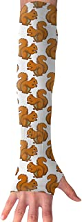 Arm Sleeves Animal Squirrel Winter Mens Sun UV Protection Sleeves Arm Warmers Cool Long Set Covers White