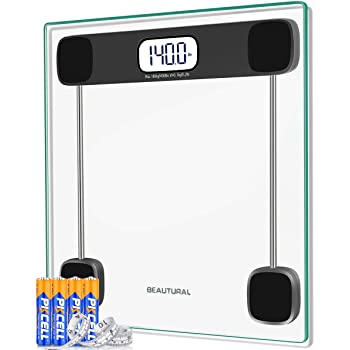 Beautural Precision Digital Body Weight Bathroom Scale with Lighted Display, Step-On Technology, 400 lb, Body Tape Measure and Batteries Included