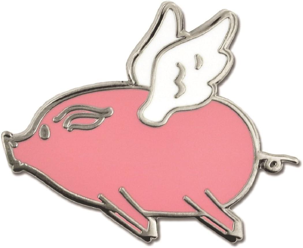 PinMart Cute Pink Flying Pig with Wings When Pigs Fly Enamel Lapel Pin