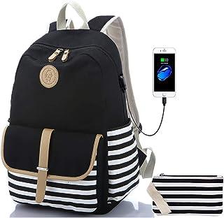 Backpack Travel Laptop Backpack with USB Charging Port, Classic Schoolbag Camping Daypack Shoulder Bag Fashion Causal Rucksack College Bookbag