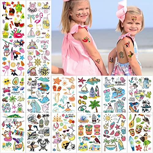 Qpout Tatuaggio Temporaneo Hawaiano,160 Tatuaggi a Tema Tropicale Assortiti,Adesivi Per Piscina Estiva Sulla Spiaggia Per Bambini e...