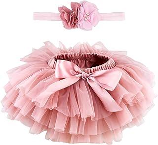 Marrywindix Newborn Baby Girls Tutu Flower Beads Headband Set Ruffles Tulle Skirt with Bow Baby Cotton Bloomers Diaper Cov...
