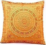 Ruwado Funda de cojín tejida a mano y hecha a mano con diseño de mandala indio, 40 x 40 cm, color dorado