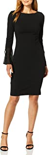 Calvin Klein Women's Solid Sheath with Chiffon Bell Sleeves Dress