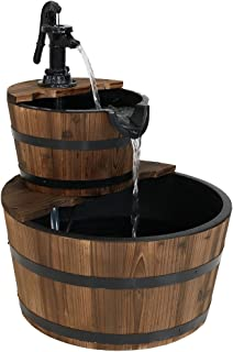 Sunnydaze Country Wood Barrel Water Fountain - 2-Tier Waterfall Fountain & Backyard Water Feature with Hand Pump - 23 Inch Tall
