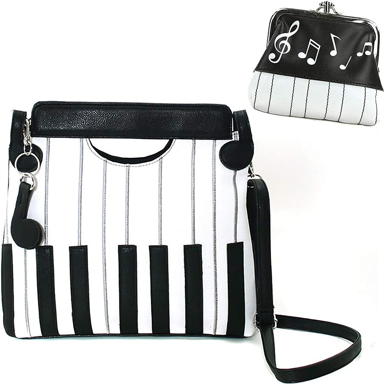 Piano Keyboard Musical Crossbody Handbag & Coin Purse Set