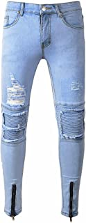 Men Ripped Slim Fit Motorcycle Vintage Denim Jean Hiphop Streetwear Pant