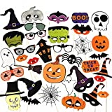 PUSITI Pre-assembled Halloween Photo Booth Props 35 Pieces Party Favors Decorations Halloween Props Pumpkin Ghost Lips Skull Glasses Wizard Hat Spider Mask Pose Sign Kit Funny Halloween Photo Booth Props 2020 Version