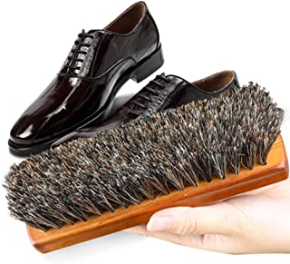 JTKDL Shoe Brush - Horsehair Shoe Brush - Concaved Handle for Premium Grip Brushes Care Clean Applicators