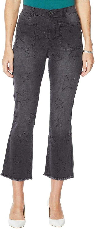 DG2 by Diane Gilman Women's Plus Size Star Needle Punch Crop Jeans. 728489-Plus