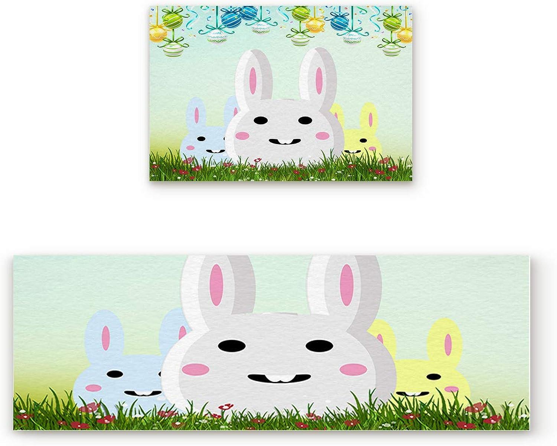 SODIKA Non Slip Kitchen Rug Set 2 Piece, Floor Mat Carpet Runner,Happy Easter Rabbit (19.7x31.5in+19.7x47.2 inches)