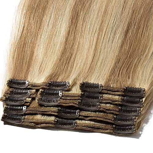 Clip in Extensions Echthaar 100% Remy Echthaar 8 Pcs 18 Clips Haarverlängerung Dick Dopplet Tressen (40cm-130g,#12/613 Light Golden Brown/Bleach Blonde)