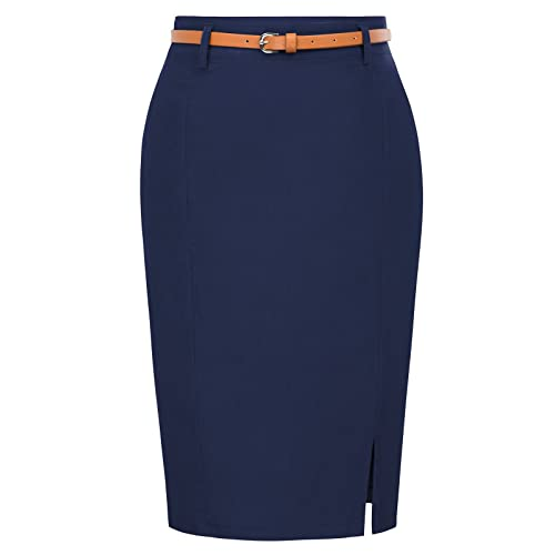 3b931a7915c40 Kate Kasin Women s Bodycon Pencil Skirt with Blet Solid Color Hip-Wrapped