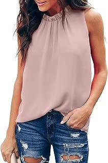 Womens Ruffle Chiffon Sleeveless Summer Shirt Cami Tank Tops Layered Flowy Blouses