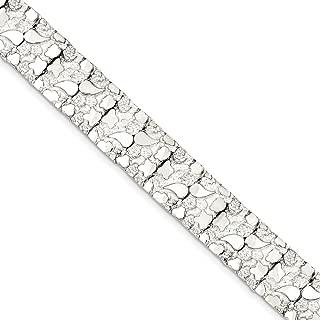 Solid 925 Sterling Silver Nugget Bracelet (15mm)
