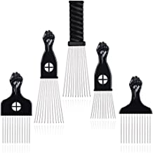 Hair Pick - BIGEDDIE 5 Pcs Metal Picks for Hair, Afro Pick Combs for African American Hair Styling, Fist Hair Pick Comb fo...