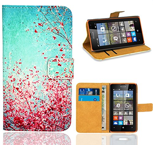 Microsoft Lumia 435 Handy Tasche, FoneExpert Wallet Hülle Flip Cover Hüllen Etui Ledertasche Lederhülle Premium Schutzhülle für Microsoft Lumia 435