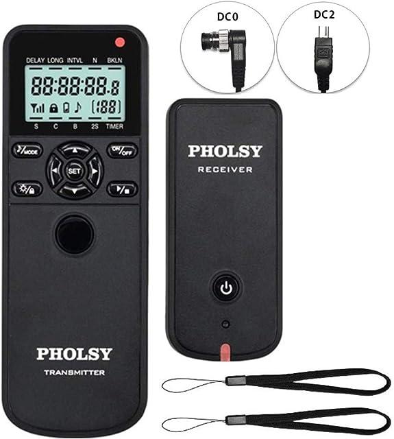 PHOLSY Inalámbrico Temporizador Mando a Distancia Disparador con HDR y Intervalómetro para Nikon DF Z7 Z6 D750 D7500 D7200 D5600 D5500 COOLPIX P7700 COOLPIX P7800 D3 D4 D5 D800 D850