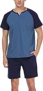 Men's 100% Cotton Pajamas Set Short Sleeve Crew Neck Lounge Sleepwear