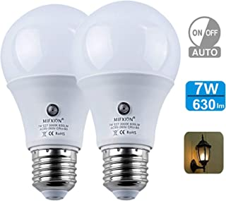Dusk to Dawn Light Bulbs [No Stroboscopic Effect] A19 7W LED Smart Bulbs Auto On/Off 60W Equivalent Led Sensor Bulbs Soft White 3000K Indoor Outdoor LED Security Bulbs by Mingfuxin 2 of Pack