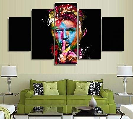 Ilustraciones Modernas 5 Piezas David Bowie Singer Compositor De Canciones Pintura del Arte De La Pared Imprimir En Lienzo para Casa Decoraciones De Oficina