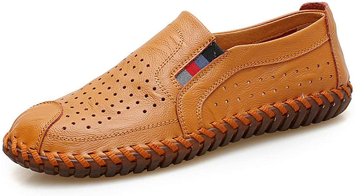 ZHRUI Men Sandals Loafers Casual shoes Handmade Leather Moccasins shoes Slippers Size 46 (color   Yellow Brown, Size   7 UK)
