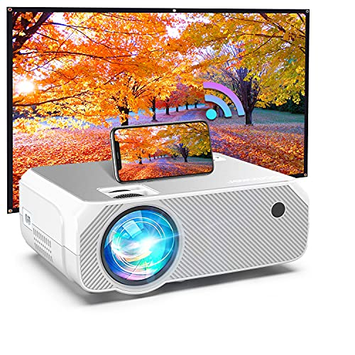 BOMAKER WiFi-Projektor, kabellose Bildschirmspiegelung und gegossener Bildschirm, tragbarer HD-HDMI-Projektor, 5000 Lux, 1080P und 300-Zoll-Display, unterstützt Android/iOS/Laptops/PCs