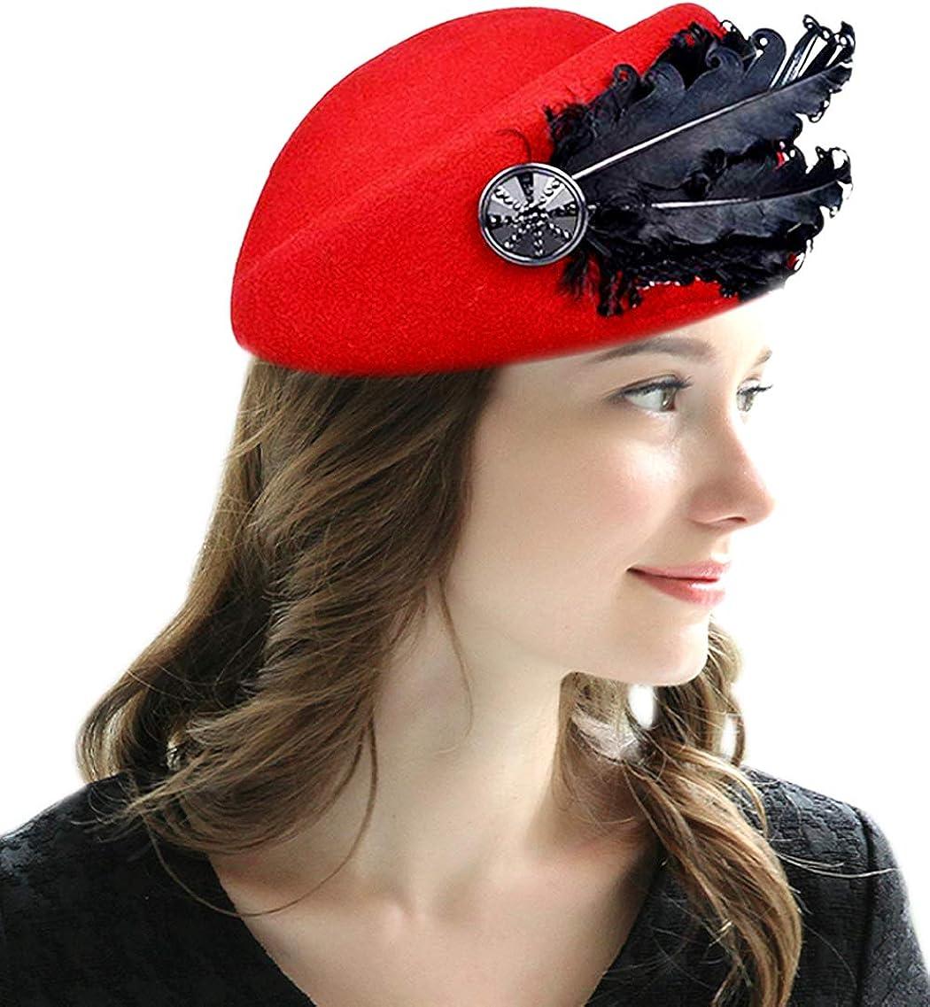 WCOLAS Women 1920s Vintage Feather Wool Fedoras Hats Pillbox Fascinator Tea Party Wedding Hat Cap