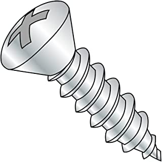 82 degrees Oval Head Pack of 100 Phillips Drive Zinc Plated 1 Length #12-14 Thread Size Type AB Steel Sheet Metal Screw