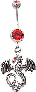 Mystical Steel Dragon Navel Belly Ring w/Red Gems