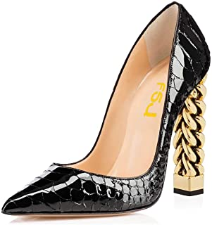 Women Gold Metal Chain Chunky High Heel Pointed Toe Slip On Fashion Pumps Shoe Size 4-15 US
