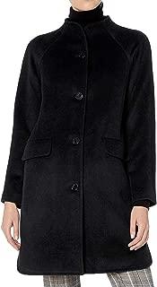 Lark & Ro Womens Coat Black US 0 Funnel Neck Button Front Split Hem