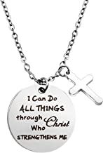 BEKECH Christian Necklace I Can Do All Things Through Christ who Strengthen Me Necklace Bible Verse Philippians 4:13 Jewelry Religious Gifts for Women