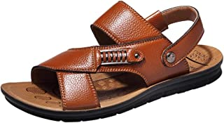 Sandals Leather for Men - POHOK Men's Breathable Leather Beach Sandals Slides Outdoor Slippers Two Sandals Shoes