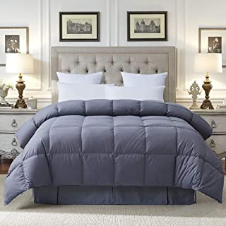 COSYBAY 100% Cotton Quilted Down Comforter Grey Goose Duck Down and Feather Filling – All Season Duvet Insert or Stand-Alone – Queen Size(90×90 Inch)