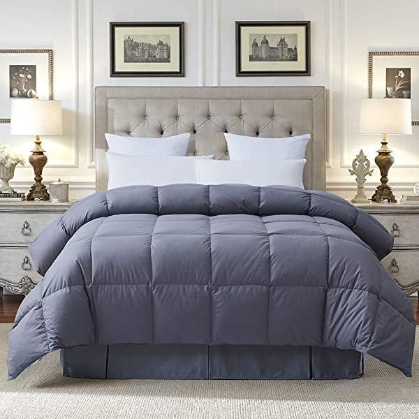 COSYBAY 100 Cotton Quilted Down Comforter Grey Goose Duck Down And Feather Filling Hypoallergenic All Season Duvet Insert Or Stand Alone Queen Size 90 90 Inch