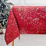 Viste tu hogar Mantel con Hilo Dorado, 140 x 140 CM, Especial para Decoración de Hogar con Patrón Navideño, Ideal para Fechas Especiales, Color Rojo.