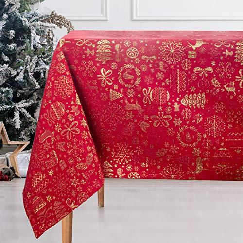 VISTE TU HOGAR Mantel con Hilo Dorado, Mantel Navidad, 140 x 200 CM, Decoración Navideña, Ideal para Navidad y Otras Fechas Especiales, Color Rojo