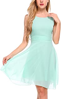 Women's Chiffon Sleeveless A-line Pleated Party Cocktail Dress with Sashes
