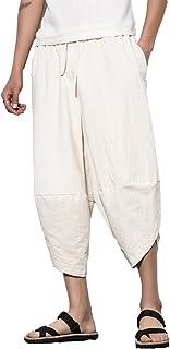 سروال رجالي من انفاتشي كاجوال مطاطي الخصر من الكتان كابري واسع الساق، سراويل فضفاضة