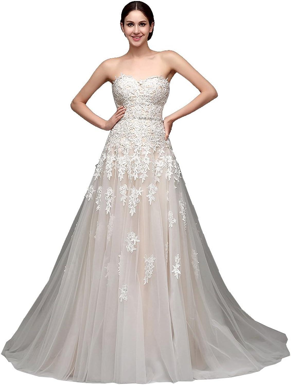BeautyEmily Lace Sleeveless Tube Sweetheart Chapel Train Wedding Dress