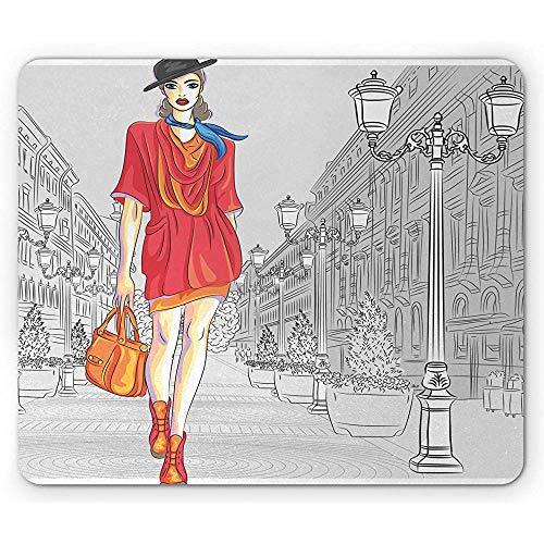 Mode Muispad, Urban Mode Thema Afbeelding met Meisje in Kleurrijke Kleding en Historische Street View, Mousepad