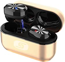 TWS Bluetooth 5.0 Wireless Earbuds Headset SZSAGO W5s True Wireless Earphones for iPhone/Samsung IPX7 Waterproof Bluetooth Headphones Headsets with Patented Intelligent Metal Charging case(Rose Gold)