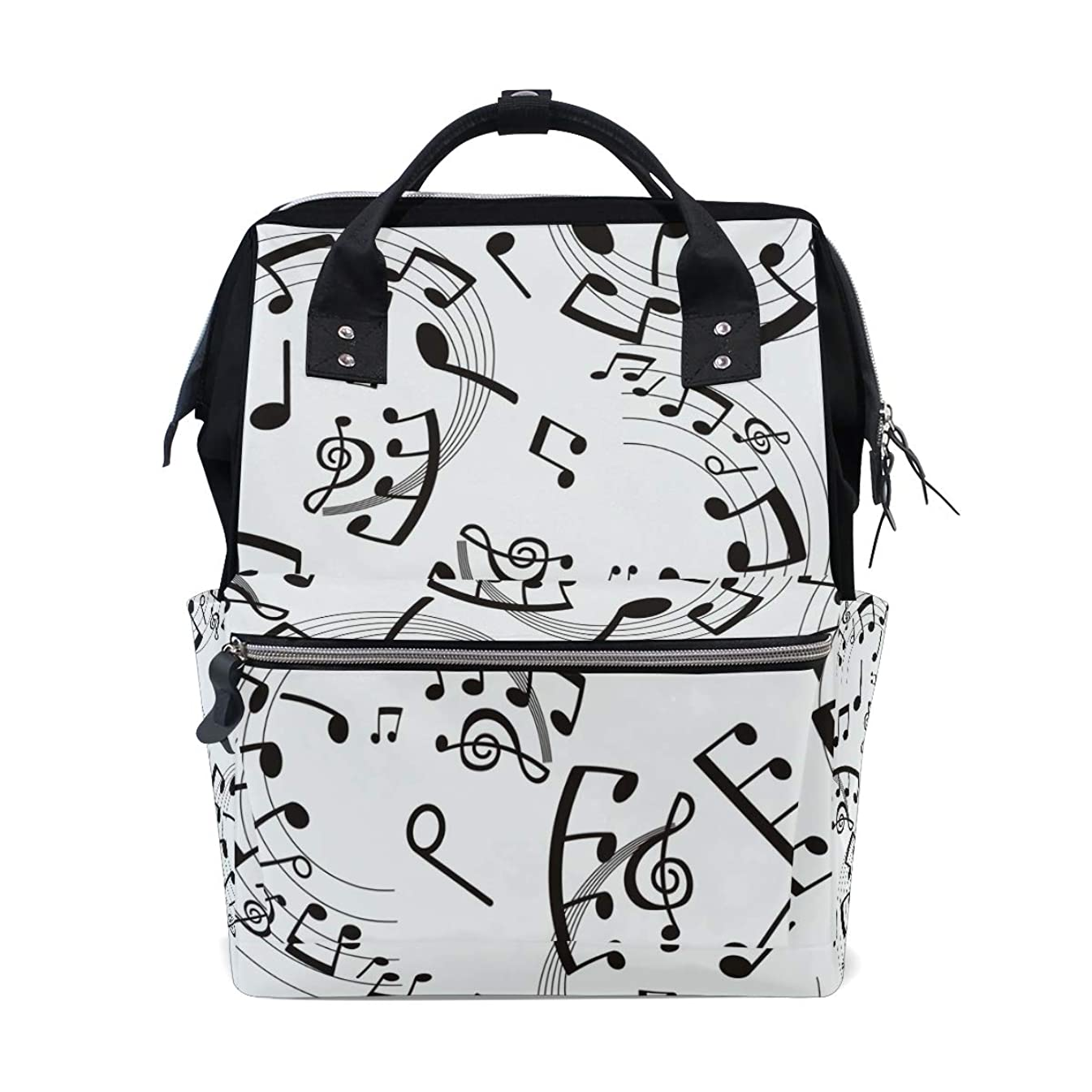 Black And White Musical Note School Backpack Large Capacity Mummy Bags Laptop Handbag Casual Travel Rucksack Satchel For Women Men Adult Teen Children