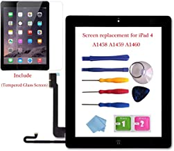 for iPad 4 Glass Touch Screen Digitizer Replacement Kit Black A1458, A1459, A1460 with Home Button Flex, Adhesive Tape, Midframe Bezel, Screen Protector, Instruction Manual,and Repair Toolkit