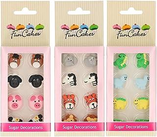 Fun Cakes - Pack de Decoraciones de Azúcar/fondant para cupcakes, muffins, tartas, galletas. (Pack Animales)