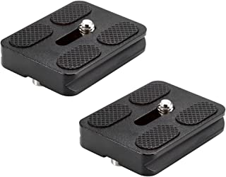 Neewer 2 Pieces Metal PU-50 50 Millimeter Universal Quick Shoe Plate with 1/4 inch Screw,Fits Arca-Swiss Standard for Camera Tripod Ball Head(Black)